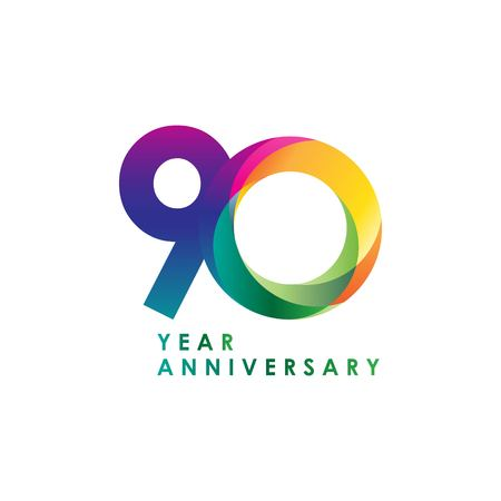 90 Year Anniversary Vector Template Design Illustration
