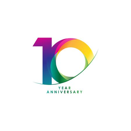 10 Year Anniversary Vector Template Design Illustration Vettoriali