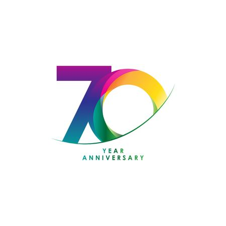 70 Year Anniversary Vector Template Design Illustration