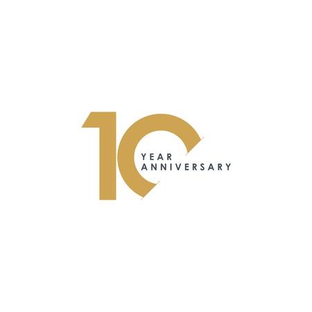 Ilustración de diseño de plantillas vectoriales de aniversario de 10 años