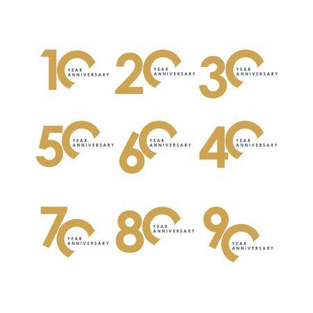Année Anniversaire Set Vector Template Design Illustration