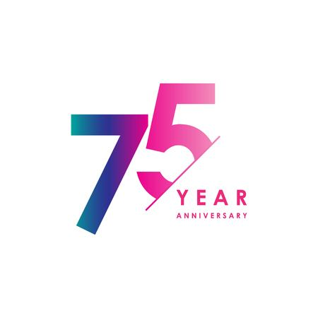 75 Year Anniversary Vector Template Design Illustration Vettoriali