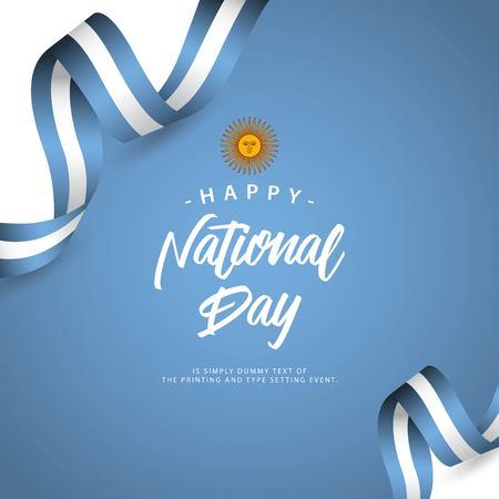 Glücklicher Nationalfeiertag Argentinien Vektor Template Design Illustration