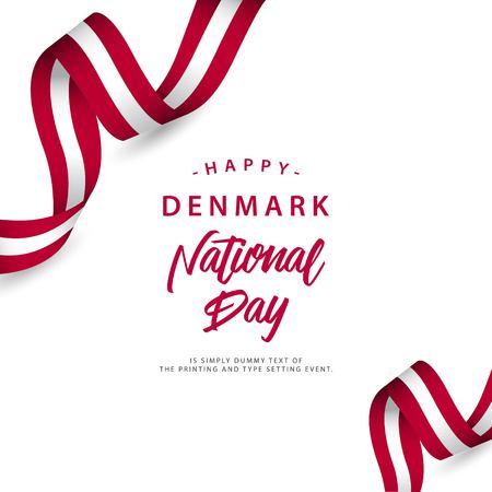 Happy Denmark National Day Vector Template Design Illustration Vetores