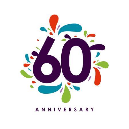 60 Year Anniversary Vector Template Design Illustration