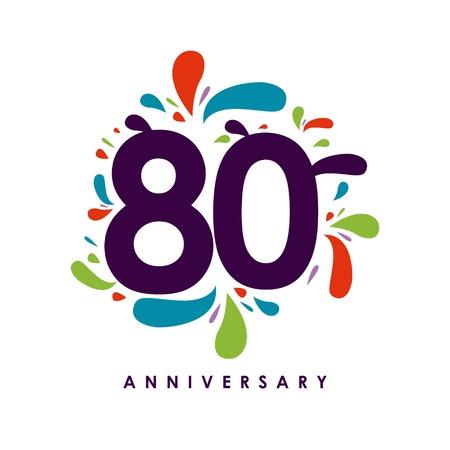 80 Year Anniversary Vector Template Design Illustration Ilustração