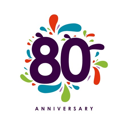 80 Year Anniversary Vector Template Design Illustration Illustration