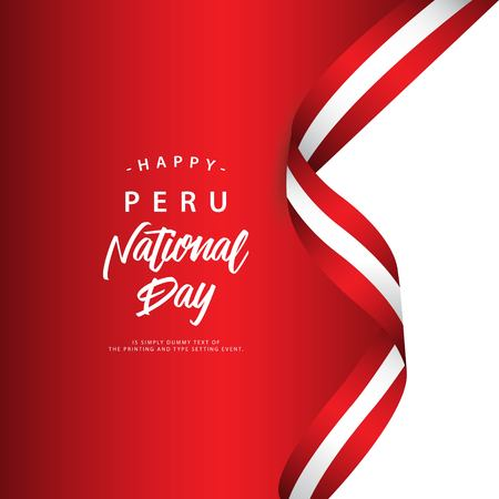 Happy Peru National Day Vector Template Illustration