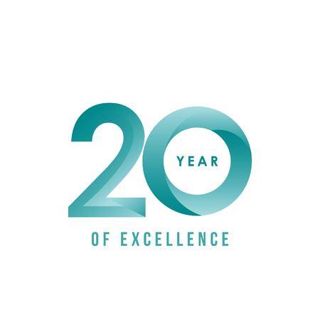 20 Jahre Exzellenz Vector Template Design Illustration