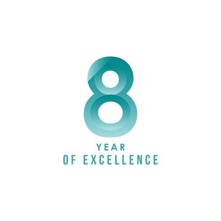 8 Year of Excellence Vector Template Design Illustration Stock Illustratie