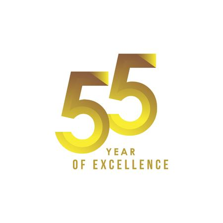 55 Year of Excellence Vector Template Design Illustration