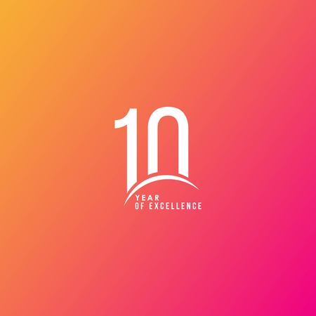 10 Year of Excellence Vector Template Design Illustration Illustration