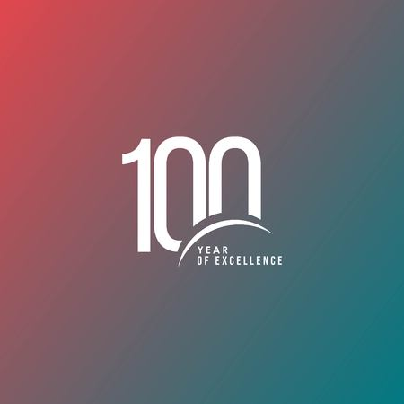100 Year of Excellence Vector Template Design Illustration