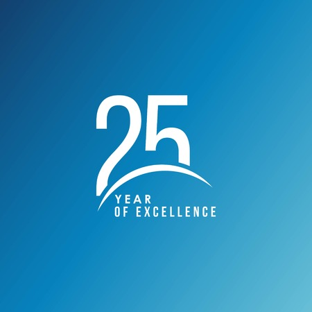 25 Year of Excellence Vector Template Design Illustration Vectores