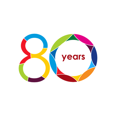 80 year Anniversary Logo Vector Template Design Illustration