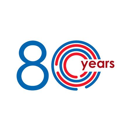 80 Year Anniversary Logo Vector Template Design Illustration