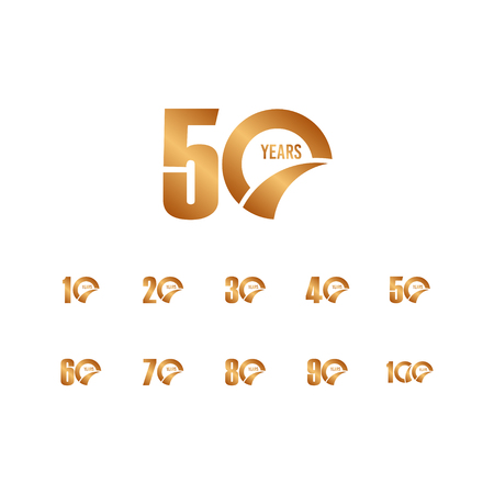 50 Year Anniversary Set Vector Template Design Illustration Çizim