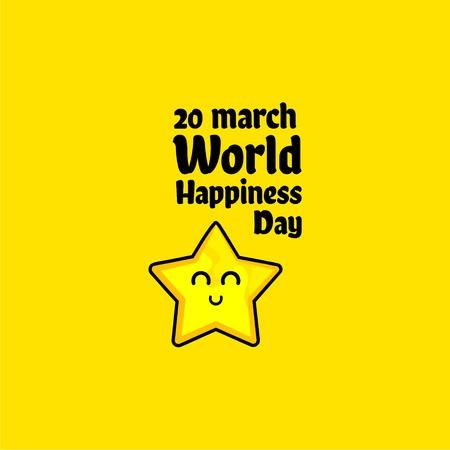 Illustrazione di progettazione del modello di vettore di giornata mondiale della felicità
