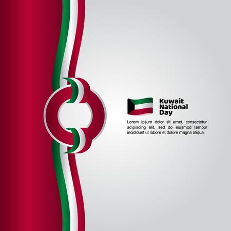 Drapeau de la fête nationale du Koweït Vector Template Design Illustration