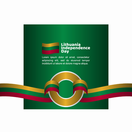 Lithuania Independence Day Flag Vector Template Design Illustration