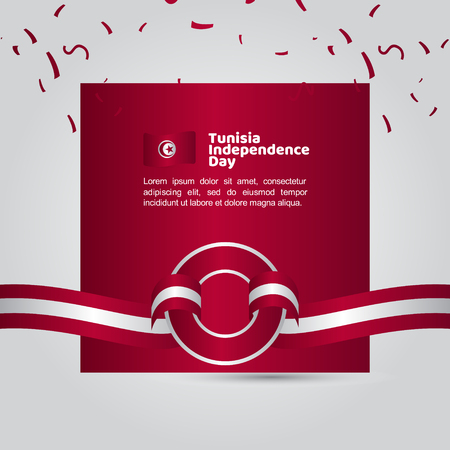 Tunisia Independence Day Flag Vector Template Design Illustration Ilustração