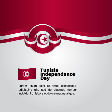 Tunisia Independence Day Flag Vector Template Design Illustration  イラスト・ベクター素材