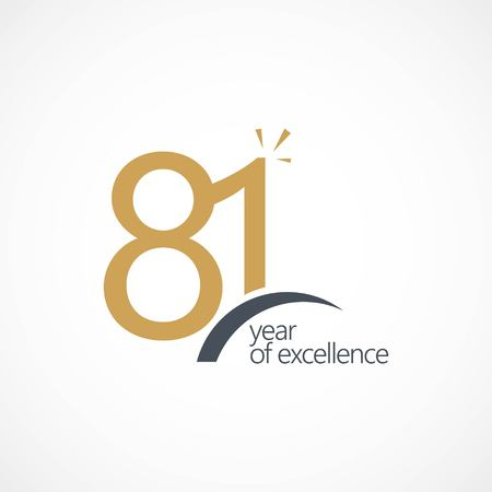 81 Year of Excellence Vector Template Design Illustration 矢量图像