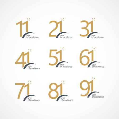 Year of Excellence Set 11 21 31 41 51 61 71 81 91 Vector Template Design Illustration Ilustracje wektorowe