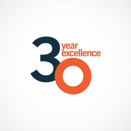 30 Year Anniversary Excellence Vector Template Design Illustration