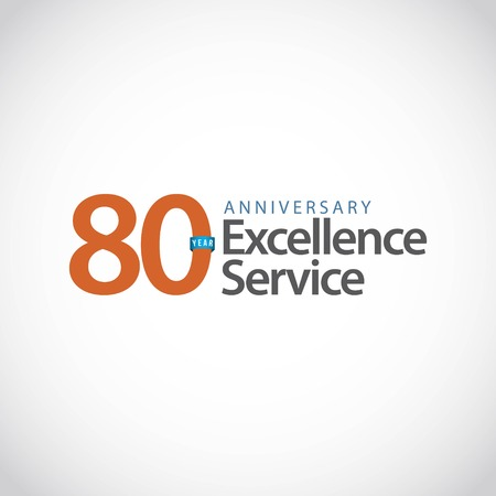 80 Year Anniversary Excellence Service Vector Template Design Illustration