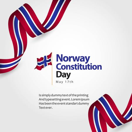Norwegen Verfassung Tag Flagge Vektor Template Design Illustration Vektorgrafik