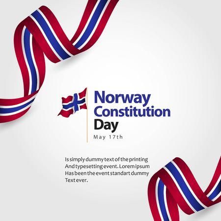 Norway Constitution Day Flag Vector Template Design Illustration Illustration
