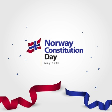 Norway Constitution Day Flag Vector Template Design Illustration  イラスト・ベクター素材