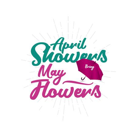 April Showers May Flowers Vector Template Design Illustration