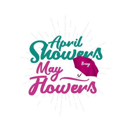 Avril Averses Mai Fleurs Vector Template Design Illustration