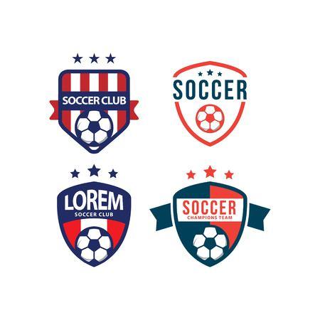Ilustración de diseño de plantilla de vector de conjunto de logotipo de club de fútbol Logos
