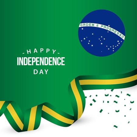 Happy Brazil Independence Day Vector Template Design Illustration Çizim
