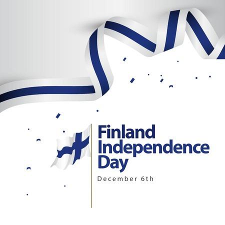 Ilustración de diseño de plantillas vectoriales del día de la independencia de Finlandia Ilustración de vector