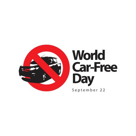 World Car Free Day Logo Vector Template Design Illustration