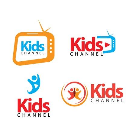 Kids Channel Logo Vector Template Design Illustration