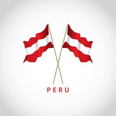 Peru Flag Vector Template Design Illustration