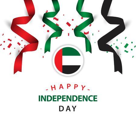 Feliz día de la independencia de los Emiratos Árabes Unidos Vector plantilla diseño ilustración