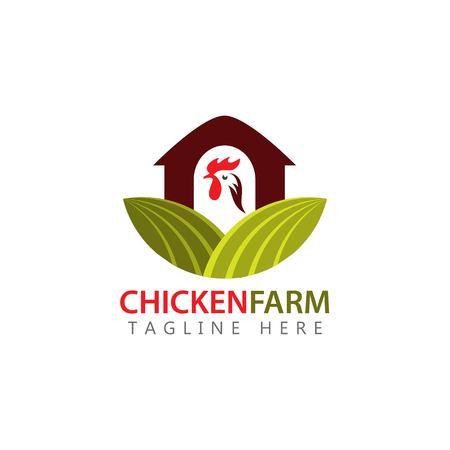 Hühnerfarm Logo Vektor Template Design Illustration Logo
