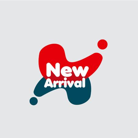 Neue Ankunfts-Etikett-Vektor-Vorlagen-Design-Illustration Vektorgrafik
