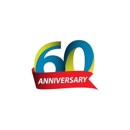 60 Year Anniversary Vector Template Design Illustration Vektoros illusztráció
