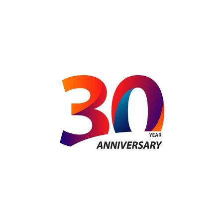 30-jarig jubileum vector sjabloonontwerp illustratie
