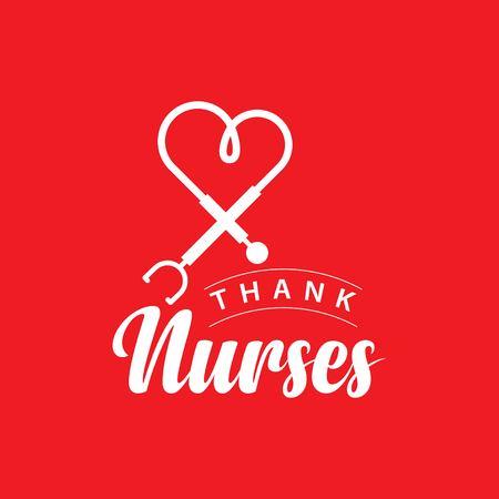 Danke Krankenschwestern Vektor Template Design Illustration Vektorgrafik