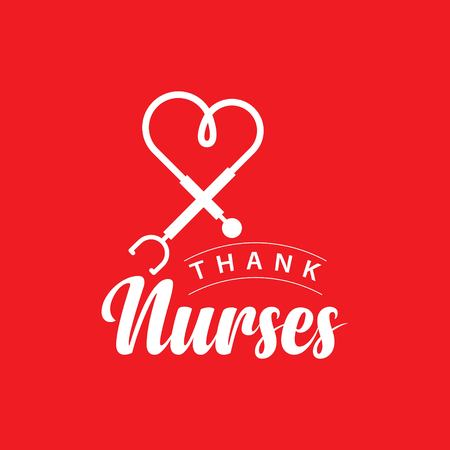 Thank Nurses Vector Template Design Illustration Vettoriali