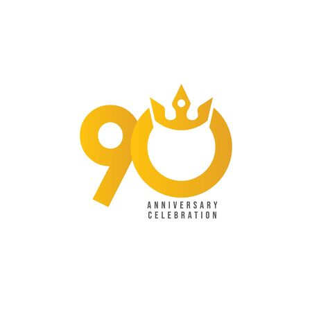 90 Years Anniversary Celebration Vector Template Design Illustration