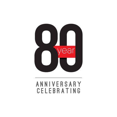 80 Years Anniversary Celebrating Vector Template Design Illustration